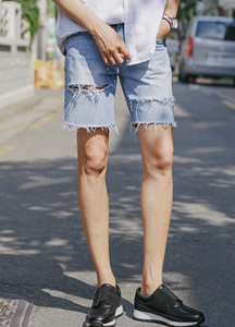 21483 - Retro Cutting 1/2 Denim Pants <br> (4 size) <br>
