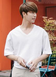 21524 - Basic 10Color V-neck Short T shirts <br> (1 size) <br>