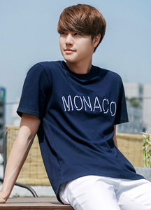 21538 - Monaco color combination embroidery Short T shirts <BR> (1 size) <br>