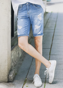 21575 - Lightning Damage Denim Shorts <br> (4 size) <br>