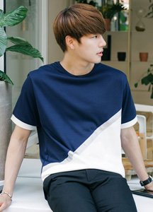 21581 - Diagonal Tape Tee <br> <font style=font-size:11px;color:#595959>Free (95-100)</font> <br>