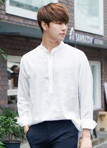 21602 - Presso henry neck linen shirt <br> (2 size) <br>