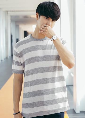 21724 - Bold Stripe Knit Short T shirts <br> (2 size) <br>