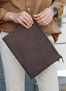 21955 - Weaving leather Clutch bag <br>