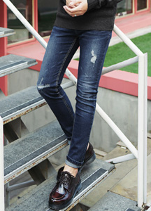 22034 - Deep Blue Damage Denim Pants <br> <font style=font-size:11px;color:#595959>28/30/32/34</font> <br>