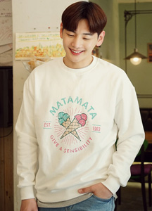 21118 - [MATAMATA] <BR> loose fit ice cream Man to man <br> (4 size) <br>
