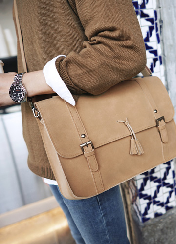 22495 - Suede Tesla Satchel Bag <br>
