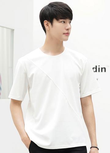 23177 - Cloud Diagonal Short T shirts <br> <font style=font-size:11px;color:#595959>F size (95 to 105)</font> <br>