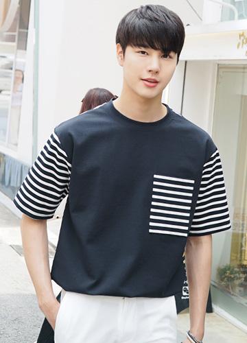 23245 - Combination Pocket Stripe Short T shirts <br> <font style=font-size:11px;color:#595959>M (95-100) / L (100-105)</font> <br>