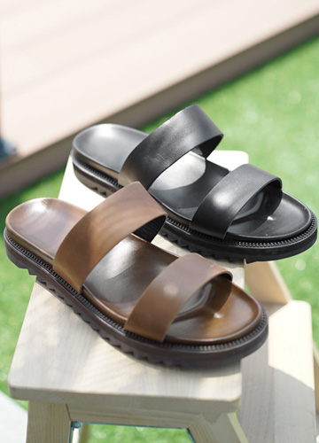 23365 - double Strap Cowhide Slippers <br> <font style=font-size:11px;color:#595959>250mm ~ 280mm</font> <br>