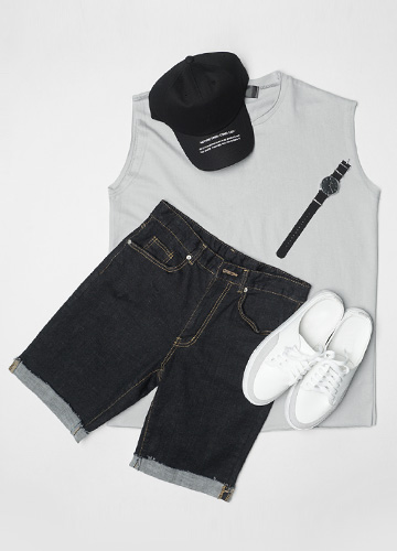 23382 - Basic decking overfit Sleeveless shirts <br> <font style=font-size:11px;color:#595959>F size (95 to 105)</font> <br>