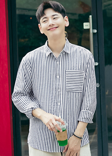 23317 - Square Stripe Cotton Shirt <br> <font style=font-size:11px;color:#595959>M to XL (95 to 105)</font> <br>