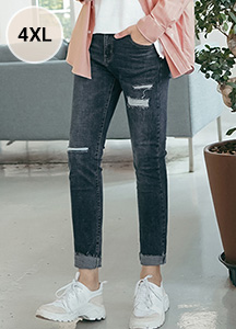 23582 - Fake Damage Cutting Jean <br> <font style=font-size:11px;color:#595959>S ~ 4XL (28 ~ 40)</font> <br>