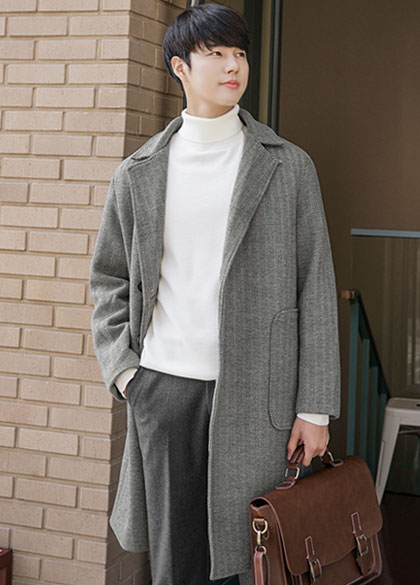 23704 - Out Pocket Herringbone Overcoat <br> <font style=font-size:11px;color:#595959>M to L (95 to 105)</font> <br>