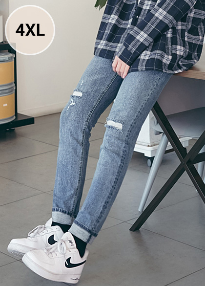 23761 - Walking Slim Damage Jean <br> <font style=font-size:11px;color:#595959>S ~ 4XL (28 ~ 40)</font> <br>