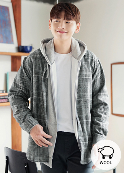 23771 - Thick Glen Check Wool Shirt <br> <font style=font-size:11px;color:#595959>Free (95 to 105)</font> <br>