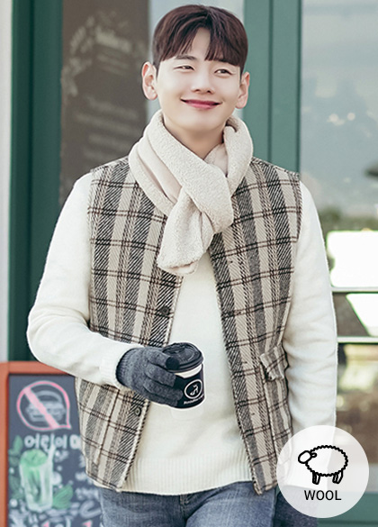 23916 - Checklist Wool quilting Vest <br> <font style=font-size:11px;color:#595959>F size (95-100)</font> <br>