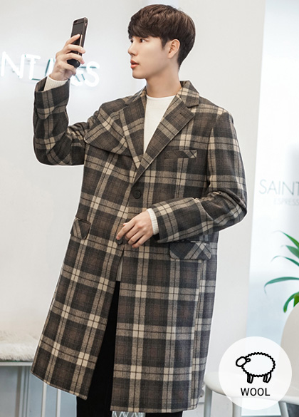 23945 - Tailored Check Wool coat <br> <font style=font-size:11px;color:#595959>M to L (95 to 105)</font> <br>