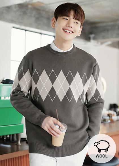 23949 - Moisture Argyle Wool knit <br> <font style=font-size:11px;color:#595959>Free (95 to 105)</font> <br>