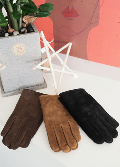 18758 - Lambskin Suede Gloves <br> (3 color) <br> <FONT color=#990000><b><Fur lining></b></font> <BR>