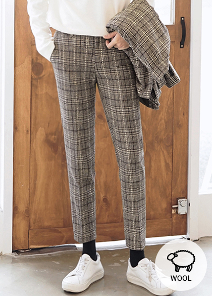 23999 - Retro Check Wool Slacks <br> <font style=font-size:11px;color:#595959>S ~ XL (28 ~ 34)</font> <br>