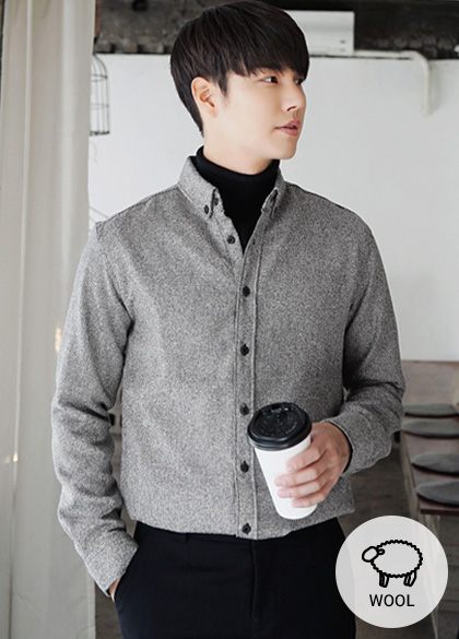24000 - Button Down Bocashi Wool Shirt <br> <font style=font-size:11px;color:#595959>1 to 3 (95 to 105)</font> <br>