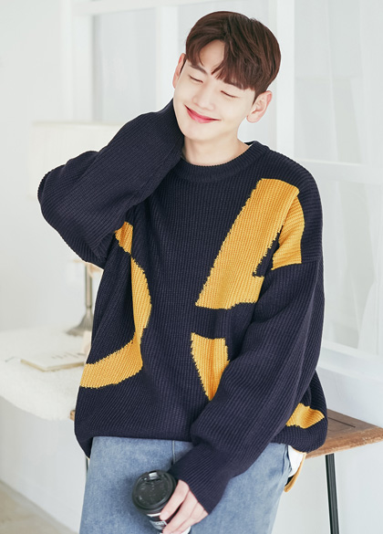 24002 - Pittty slit overfit Knit <br> <font style=font-size:11px;color:#595959>Free (100 ~ 115)</font> <br>