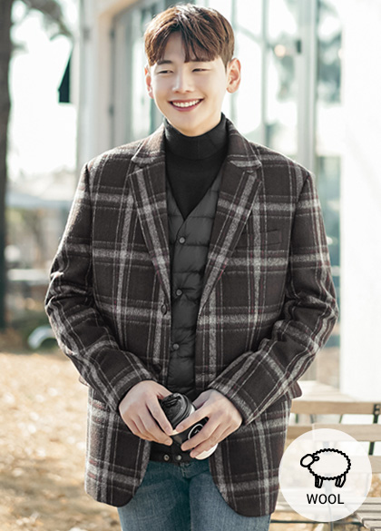 24058 - Fogny Wool Check Jacket <br> <font style=font-size:11px;color:#595959>M-L (95 to 105)</font> <br>