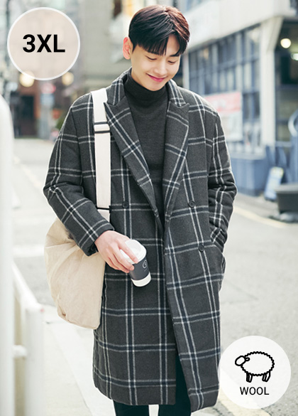 24098 - Thick large Check Wool double coat <br> <font style=font-size:11px;color:#595959>F size (100-115)</font> <br>