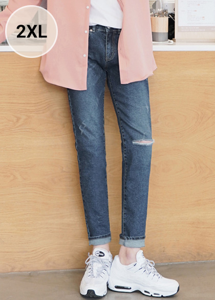 24333 - Vertical Cutting Washing Denim Pants <br> <font style=font-size:11px;color:#595959>S-2XL (28-36)</font> <br>