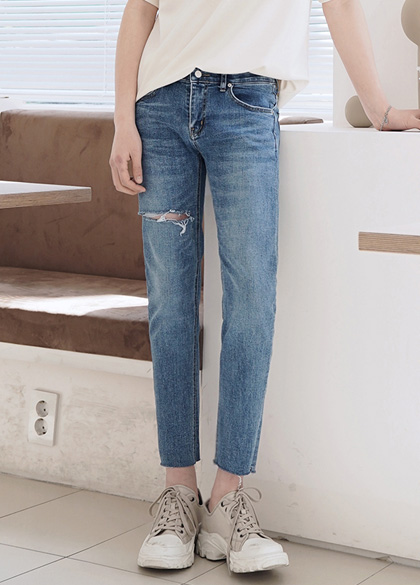 24554 - Upper Damage Washing Cutting Jeans <br> <font style=font-size:11px;color:#595959>S-XL (28-34)</font> <br>
