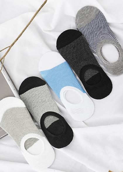 24830 - Men's color combination Check fake socks <br><br>