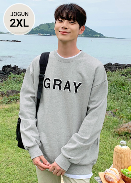 25075 - Color name embroidered heavy sweatshirt <br> <font style=font-size:11px;color:#595959>M-2XL (95-110)</font> <br>