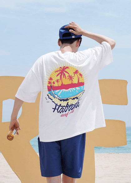 24901 - Morning Aloha overfit T-shirt <br> <font style=font-size:11px;color:#595959>F size (95-110)</font> <br>