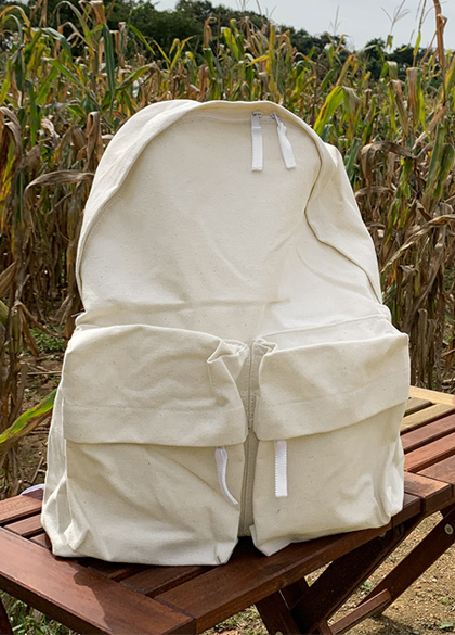25236 - Basic Two Pockets Cotton BackPack <br><br>
