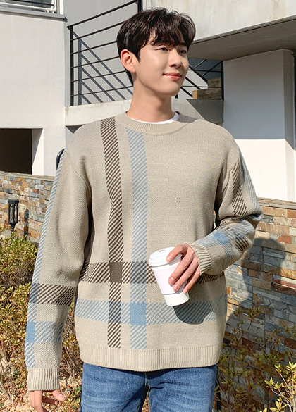 25450 - large Check Classic Patterns Knit <br> <font style=font-size:11px;color:#595959>F size (95 to 105)</font> <br>